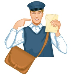 Young postman in a postman uniform with a letter a vector image