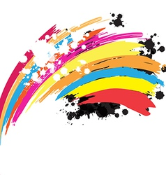 abstract rainbow ink paint background vector image vector image