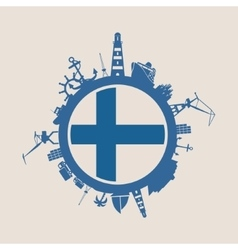 Cargo port relative silhouettes finland flag vector