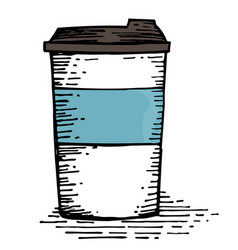 coffee cup hand drawing vector image vector image