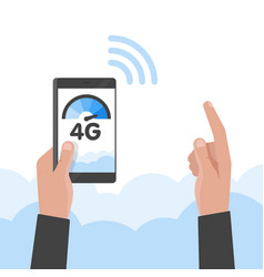 hand holding phone fast 4g internet technology vector image