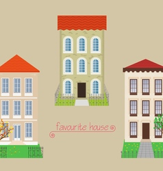 Set from three houses vector image vector image