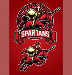 spartan warrior riding horse mascot vector image vector image