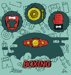 boxing flat concept icons vector image