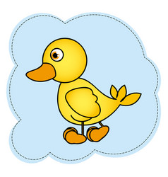 cloud frame with yellow duck side view animal icon vector image