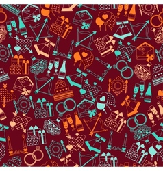 Seamless wedding pattern in retro style vector image