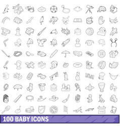 100 baby icons set outline style vector image