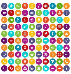 100 banquet icons set color vector