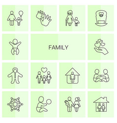 14 family icons vector image