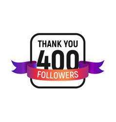 400 followers number with color bright ribbon vector image