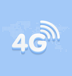 4g fast internet 3d sign in blue background and vector image