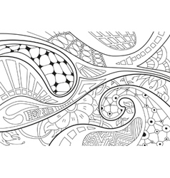 Abstract background with lines wave and flowers vector