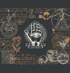 Alchemy banner with hand-drawn sketches and notes vector