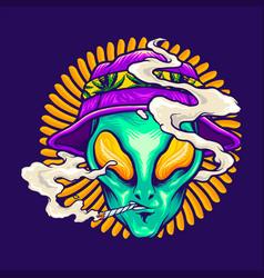 Alien smoking summer holiday vector