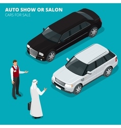 Arab businessman chooses Luxury car Flat 3d vector image