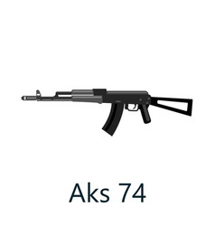assault automatic black rifle ak74 military gun vector image