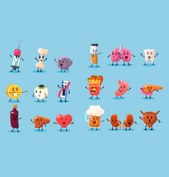 Bad habits and unhealthy human organs characters vector