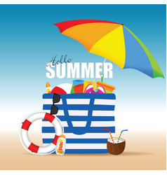 bag for beach summer with accessory and coconut vector image