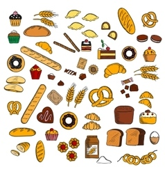 Bakery pastry confectionery products sketches vector image