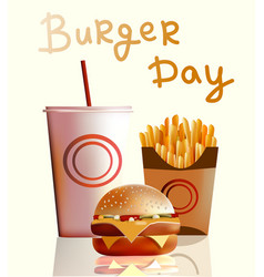 Banner burger fries cola fast vector