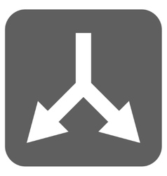 Bifurcation Arrow Down Flat Squared Icon vector