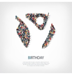 Birthday people sign 3d vector