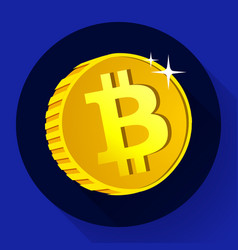 Bitcoin gold coin with bitcoin symbol vector