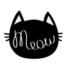 black cat head meow lettering contour text cute vector image
