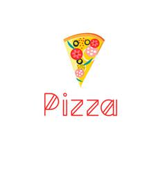 bright delicious slice pizza vector image