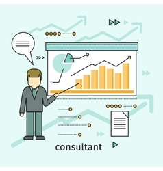 Business Consultant Concept in Flat Design vector
