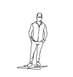business man holding hands in pocket doodle male vector image