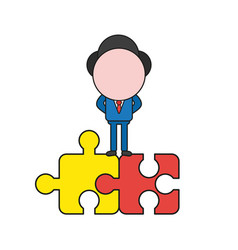 Businessman character standing on two connected vector