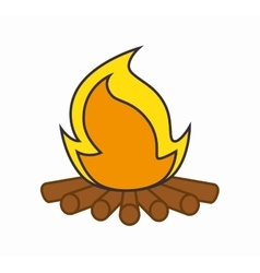 Campfire camping isolated icon vector