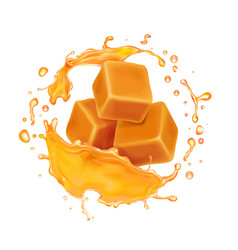 caramel candies in caramel syrup or honey splash vector image