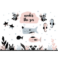 card with calligraphy lettering under the sea and vector image