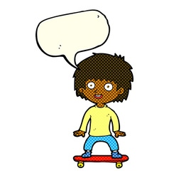 cartoon boy on skateboard with speech bubble vector image