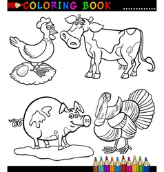Cartoon Farm Animals for Coloring Book vector image