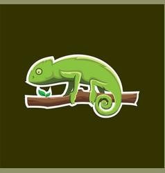 Chameleon logo bagde for sport esport vector