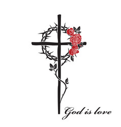 Christian cross and thorn crown vector