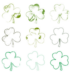 Clover leaf grune set 01 vector