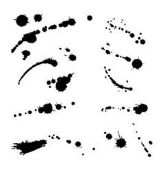 Collection hand-drawn splashes set brush vector