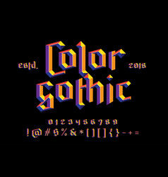 color gothic alphabet vector image