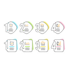 Confirmed love mail and growth chart icons set vector