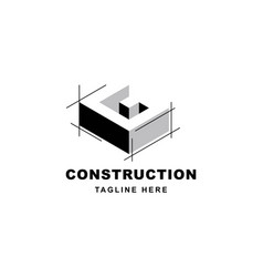 construction logo design with letter g shape icon vector image