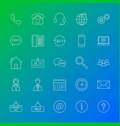 contact line icons vector image