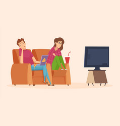 couple watching tv isolation period lazy man vector image