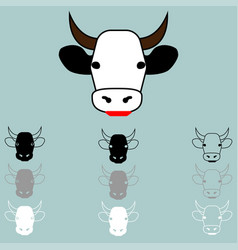 Cow face different colour icon vector
