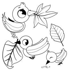 Cute birds holding dry autumn leaves vector