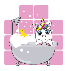 cute unicorn in the bathroom on a pink background vector image