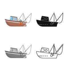 Design fishery and trawler symbol vector